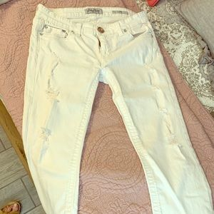 White Crop Slightly Distressed Jeans